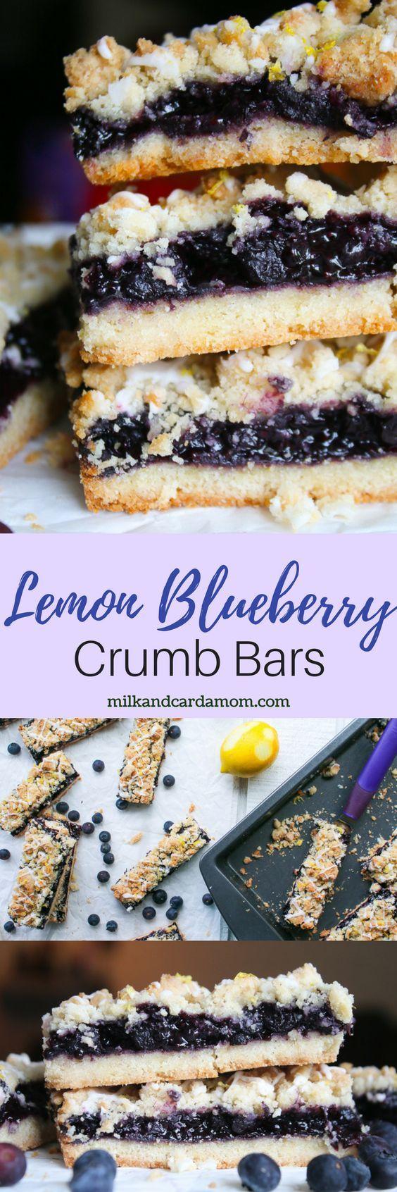 Blueberry Lemon Crumb Bars - made with blueberry chia jam! SO easy! #dessert #easyrecipe #recipe #blueberry