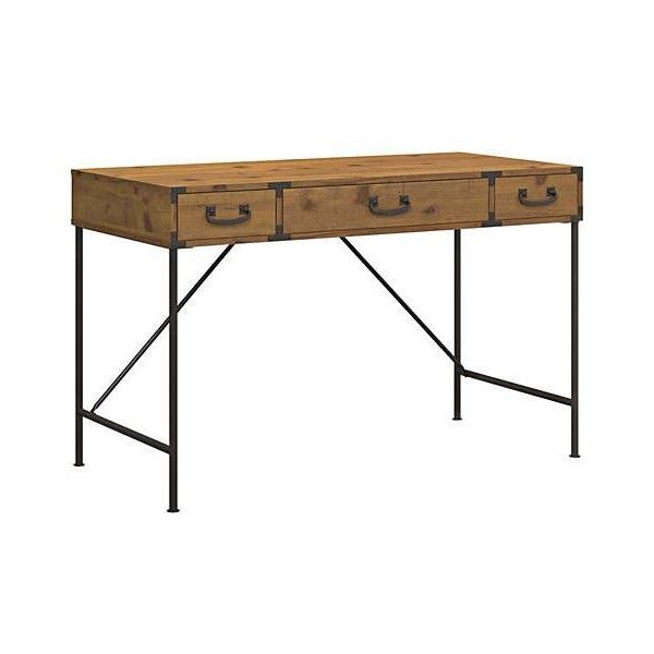 Ironworks Vintage Golden Pine 3-Drawer Writing Desk (£225) ❤ liked on Polyvore featuring home, furniture, desks, pinewood furniture, pine desk, pine wood desk, pine wood furniture and pine writing desk