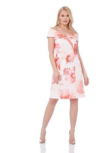 0b5de9de95 Roman Originals Femme Robe Col Bardot Motif Floral - Ceremonie Mariage  Elegant Moulant Col Cache-
