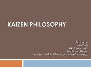 Quick and easy Slideshare about kaizen-philosophy by pratik207