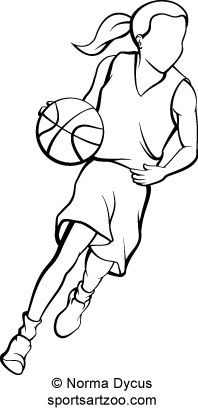 Girl Basketball Player Dribbling Ouline by SportsArtZoo. If you want to use this design please pay for it. It is not expensive.