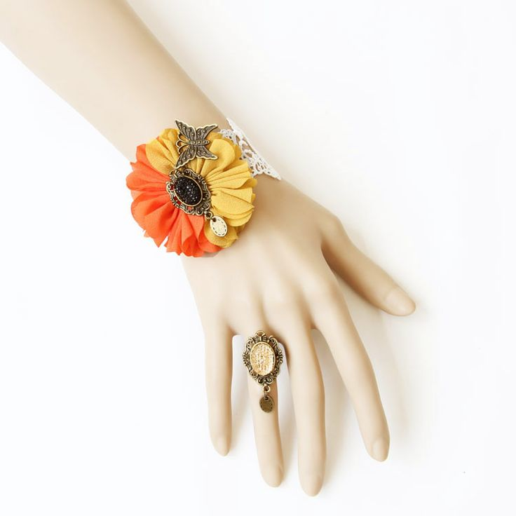 Classic Floral Lace Lolita Bracelet And Ring Set