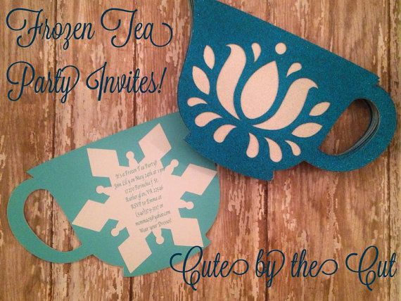 Frozen teap party invitations by CutebytheCut  https://www.etsy.com/listing/239277073/frozen-tea-party-invitations