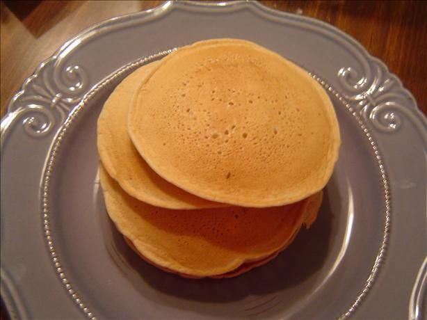 Cinnamon Applesauce Pancakes without eggs or milk.  A good one to have on hand for days when your daughter asks for pancakes and you are running low on the essentials! :)