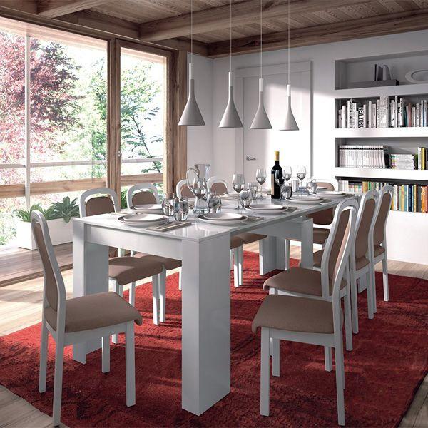 Mesa de comedor consola extensible hasta 235 cm, acabado blanco brillo.