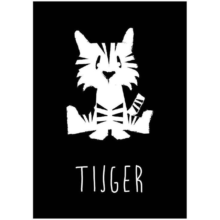 Kaart tijger zwart-wit. Deze dierenkaart in stoer zwart wit is niet alleen leuk om neer te zetten of aan de muur te hangen, maar natuurlijk ook om naar een kleine dierenvriend op te sturen!