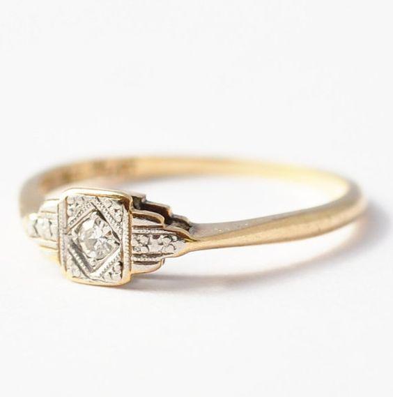 Antique Engagement Ring Art Deco Diamond by BlueRidgeNotions, $275.00                                                                                                                                                                                 More