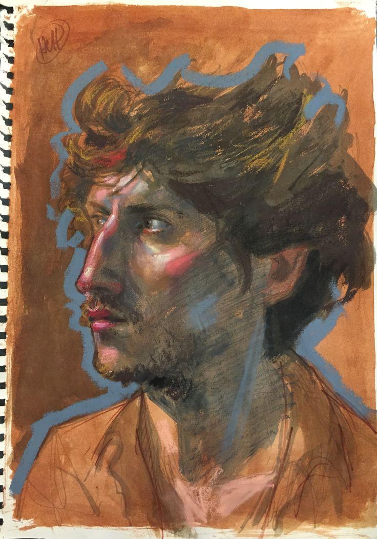 H. Craig HANNA, Etude de Virgile, Oil Pastel, Ink and Pen on Paper, 2015