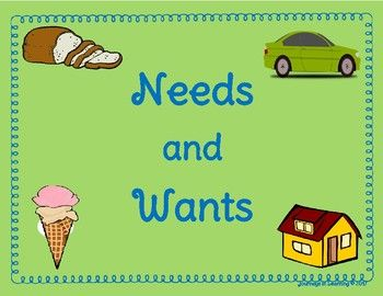 "The Needs and Wants activity is a great way for your students to learn the difference between ""a need and a want"". Great for Social Studies! The resource includes 2 sheets that could be used as posters while teaching the lesson. It also includes a sheet with pictures that students will cut out and paste on the appropriate sheet, depending if it is a need or"
