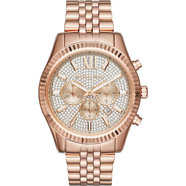 Michael Kors Lexington Chronograph Watch - Rose Gold - Men's Watches ($350) ❤ liked on Polyvore featuring men's fashion, men's jewelry, men's watches, metalic, mens rose gold watches, mens chronograph watches, mens watches jewelry and michael kors mens wa
