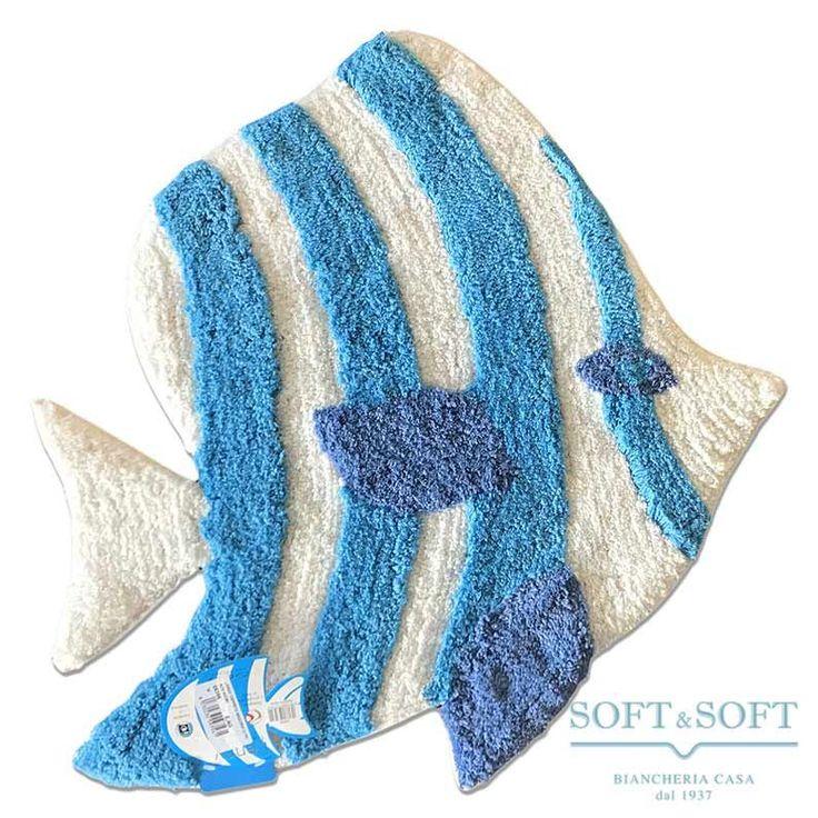 LENNY Tappeto sagomato a forma di Pesce Blu Sagome, Blu