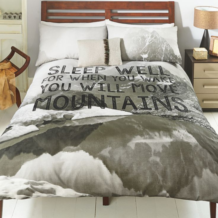 Inspirational quote duvet cover set Sleep well for when you wake you will move mountains