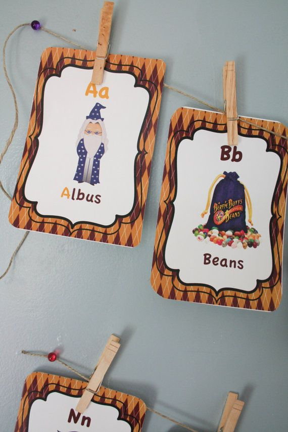 Harry Potter ABC Cards- Harry Potter Theme, Nursery Room Decor, Nursery Card Set, Alphabet Cards, Harry Potter Nursery Room Decoration