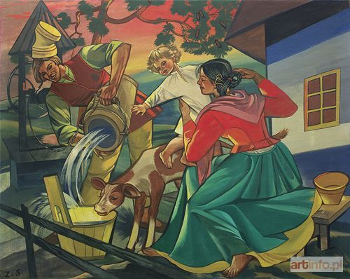 Aukcja katalogowa, Aukcja Sztuki Dawnej, Zofia STRYJEŃSKA, POJENIE CIELAKA, 1949/1950