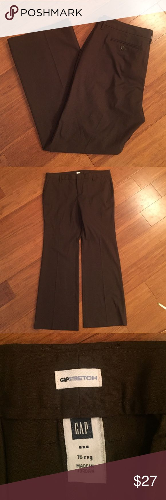 "Gap Outlet chocolate brown trousers Excellent condition. Has belt loops. 64% polyester, 33% rayon, 3% spandex. Inseam 31.5"" GAP Pants Trousers"