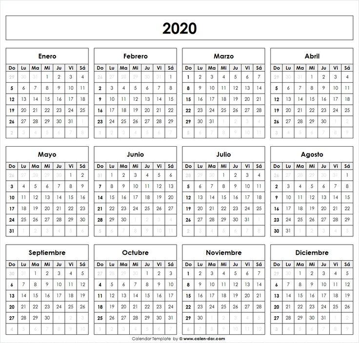Calendário 2020 & Feriados 2020 (formato de retrato)