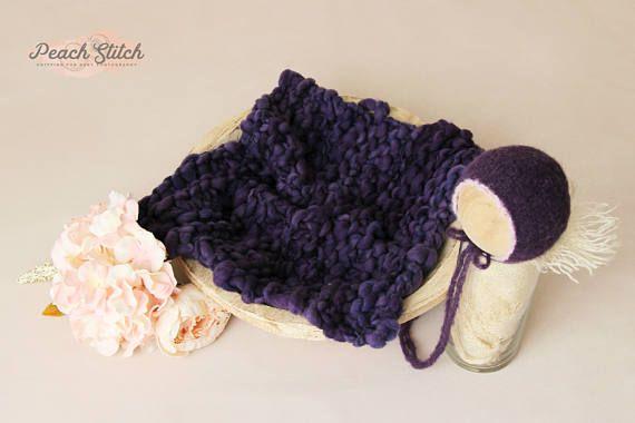 RTS VIOLET bonnet and medium blanket set