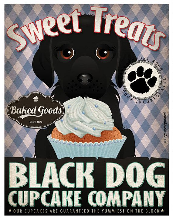 Black Dog Cupcake Company Original Art Print  by DogsIncorporated, $29.00