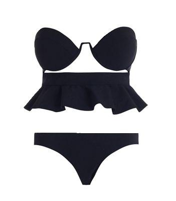 Черный раздельный купальник с баской Anais Bonded Frill Bikini, summer look