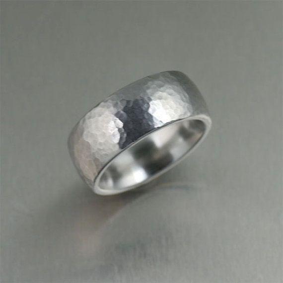 9mm Hammered Domed Stainless Steel Men's Ring by johnsbrana, $95.00