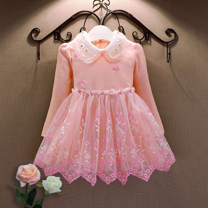 Baby Girls Dress Baby Dress kids clothes rose print girls party dress with flower sashes vestidos infantis, vestidos de menina