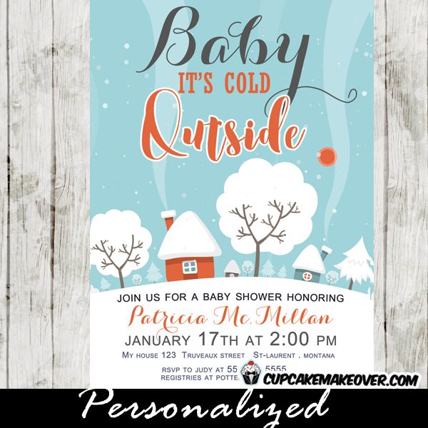 Winter Baby Shower Invitations, Snow Covered Landscape, Baby Itu0027s Cold  Outside