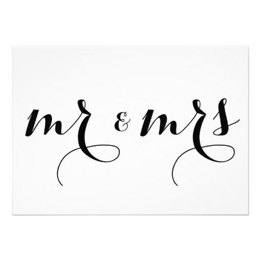 Modern calligraphy mr mrs wedding sign card