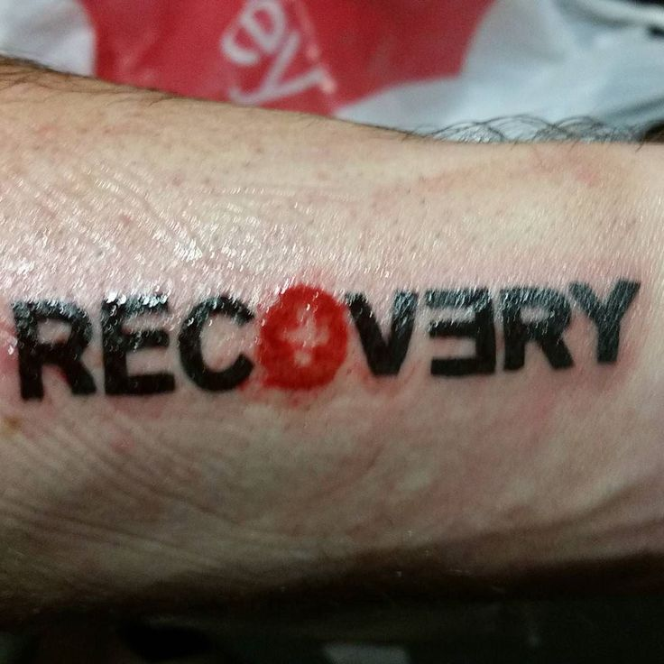 I'm almost a year sober (August 2nd) so for my birthday (tomorrow) I got the logo from Eminem's Recovery album put on my left arm. This album was his first after he got clean and in the lyrics I can relate to a lot to what he is saying about getting clean and the victory of doing so. If you get a chance listen to the song Not Afraid off that album. It's my favorite and my anthem. #sobriety #nevergiveup