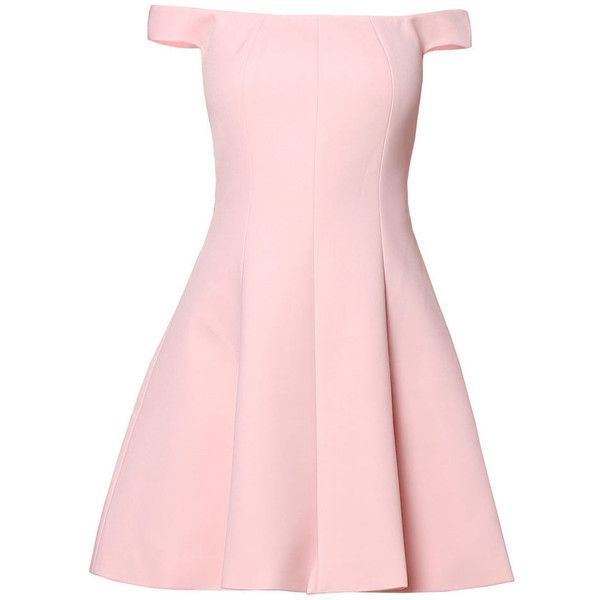 Pink Plain Off-shoulder Simple Mini Dress (405 MYR) ❤ liked on Polyvore featuring dresses, short pink dress, off shoulder dress, pink off the shoulder dress, pink day dress and off the shoulder mini dress