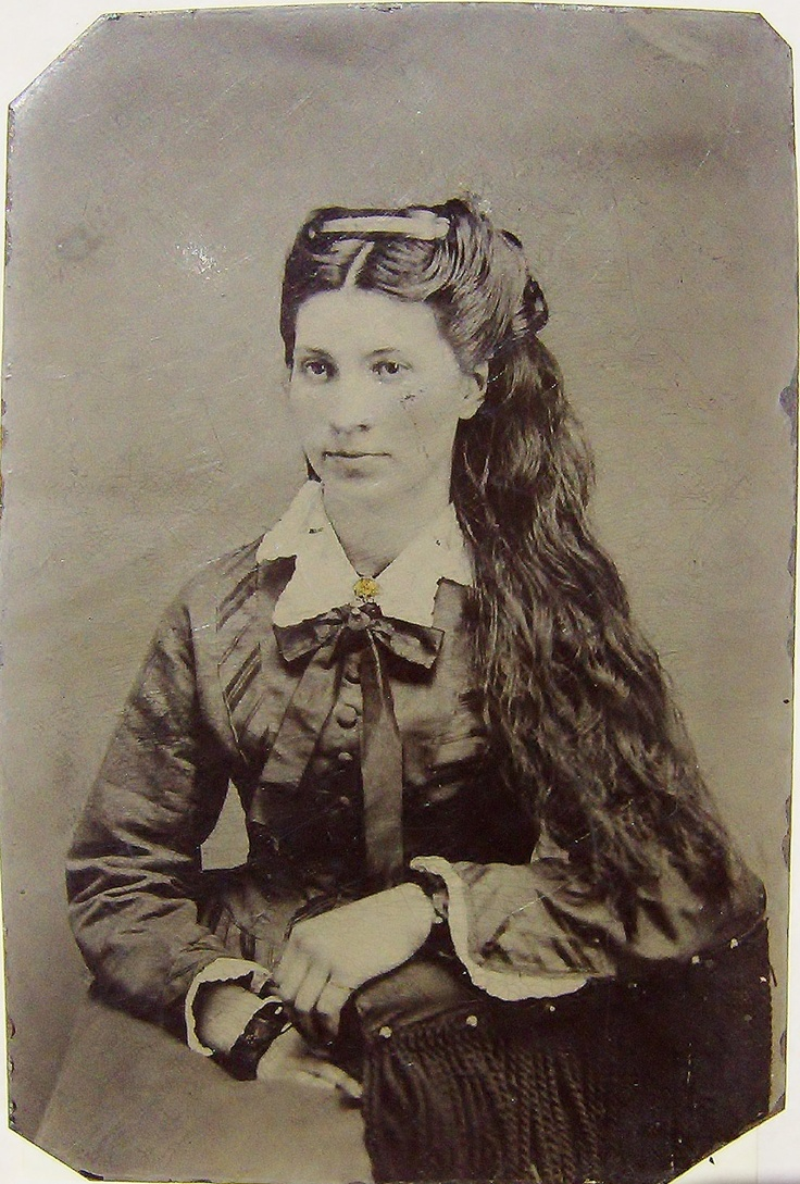 Antique Tin Type Photo- Ella Countryman - VERY unusual in that her hair is down. 1860's. Note the greasy look- daily hair washes were not the societal norm until 1960's, believe it or not! See her matching bracelets? These were common until the 1920's.