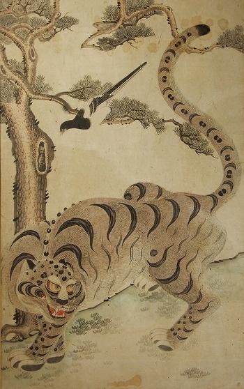 Daily Korean Stuff: Korean Tiger Folk Art 1: Tiger and Magpie Paintings (호작도)