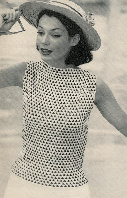 Vogue Knitting 1960 Diamond Check by vintagemadamedefarge on Etsy, $2.50