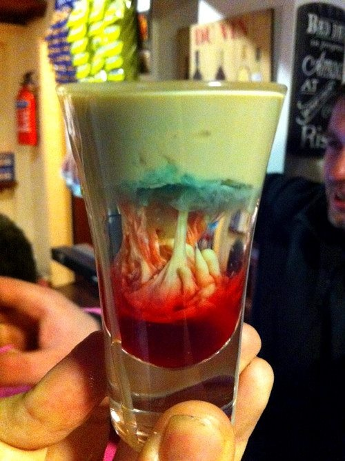 alien brain hemorrhage cocktail or zombie cocktail: To make an alien brain