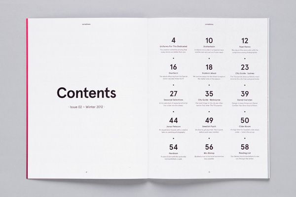 #layout #tableofcontents #grid This is also a minimal and effectively designed contents page.