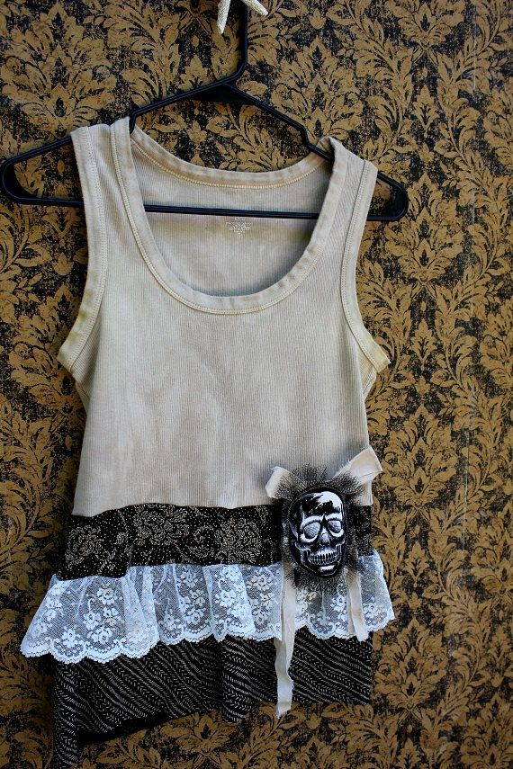 REVIVAL Upcycled Glitter Skull Tank Top Med to Large by REVIVAL, $37.99
