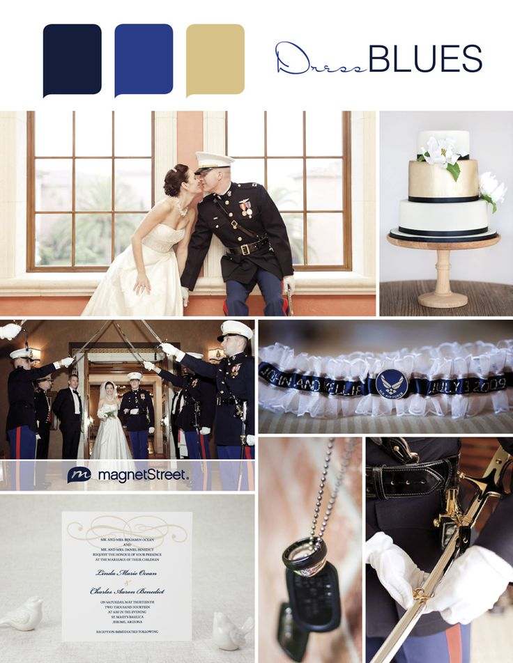 Military wedding ideas and color palette: navy, blue, gold