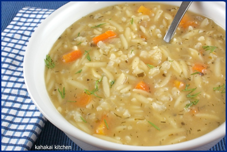 Kahakai Kitchen Greek Lemon Rice Soup   its all soup!! and... bread t ...