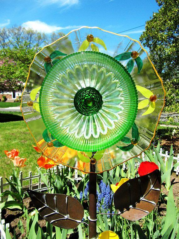 Glass Garden Art Flower, Yard Art, Art Glass, Garden Gift,upcycled Glass,  Repurposed Garden Art, Plate Flowers, Suncatcher, Garden Flowers