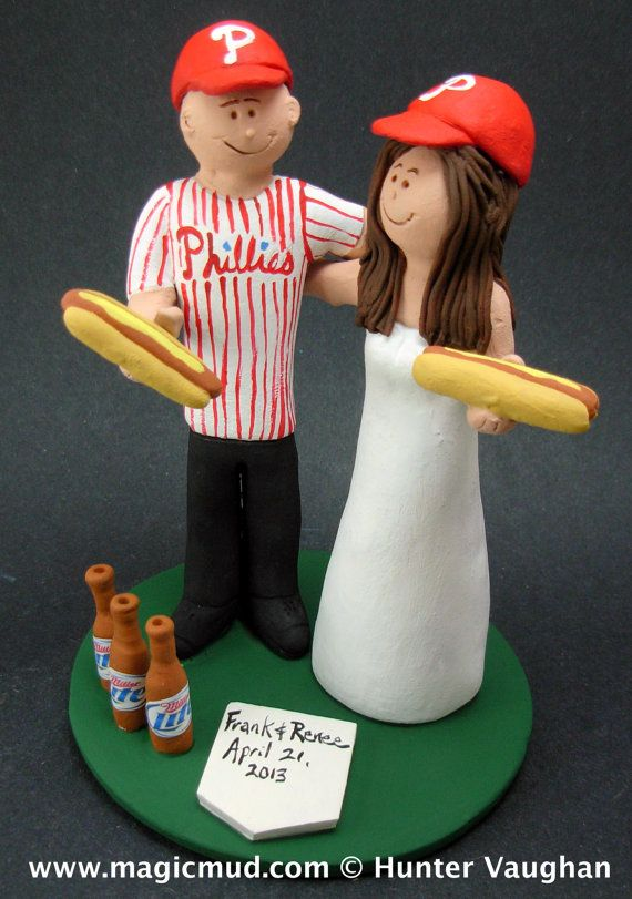 Beer and Hot Dogs Wedding Cake Topper    Wedding Cake Topper for MLB Baseball Fans, custom created for you!    $235   #magicmud   1 800 231 9814   www.magicmud.com