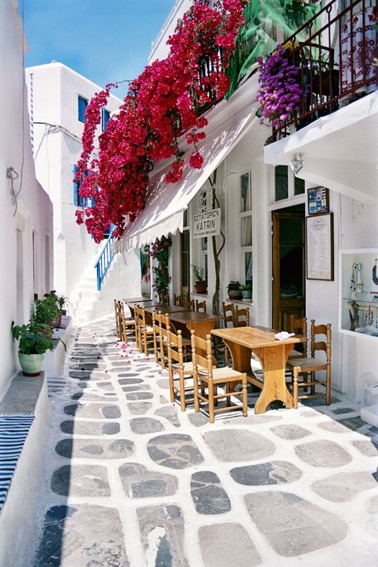 Mykonos Greece. Blue roofs and beautiful flowers. Still remember the children diving off the sea walls for a swim in the Mediterrabean.