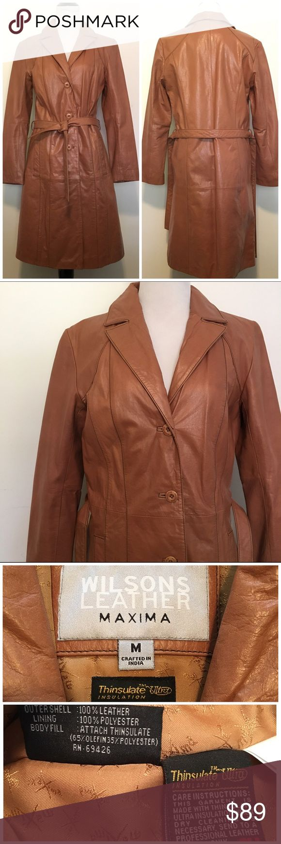 🆕Wilson's Leather Thinsulate Cognac Trench Coat Wilson's Maxima genuine leather cognac trench coat. Absolutely gorgeous! Thinsulate lining to keep you warm without the bulk. Falls below the knees. Full button closure with optional tie around waist. Retro looking v-neck collar. No cracking or peeling. In excellent condition. Size M. TTS. ❌NO TRADES❌NO LOWBALLING❌ Wilsons Leather Jackets & Coats Trench Coats
