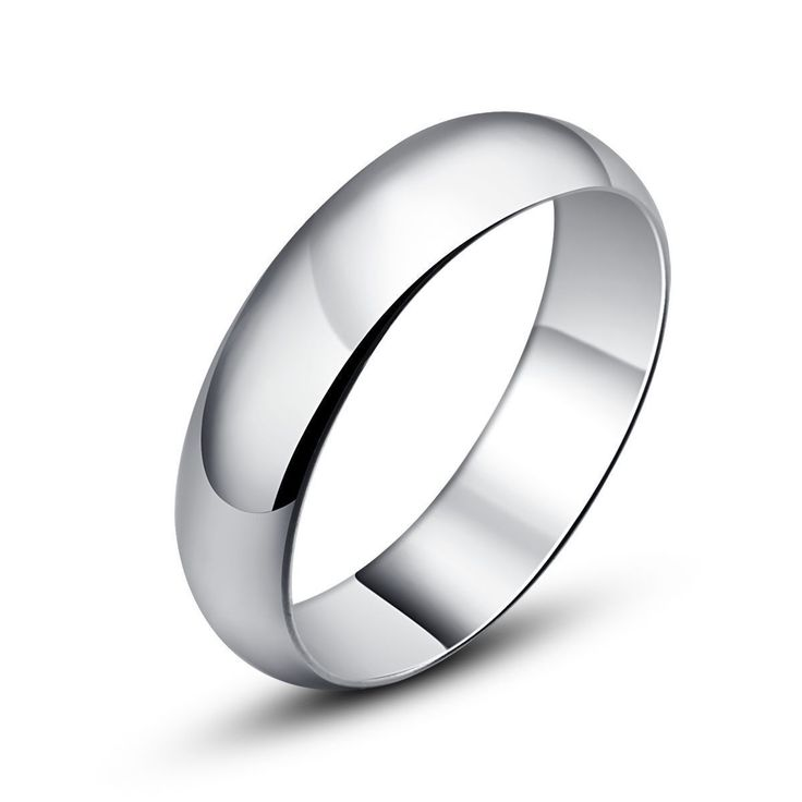 USA 4MM Sterling Silver Plated Ring Wedding Engagement Promise Band