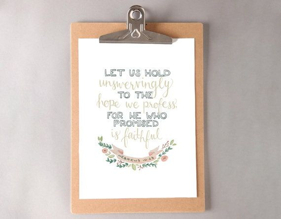 Hebrews 10:23 Art Print by dearcharliedesign on Etsy
