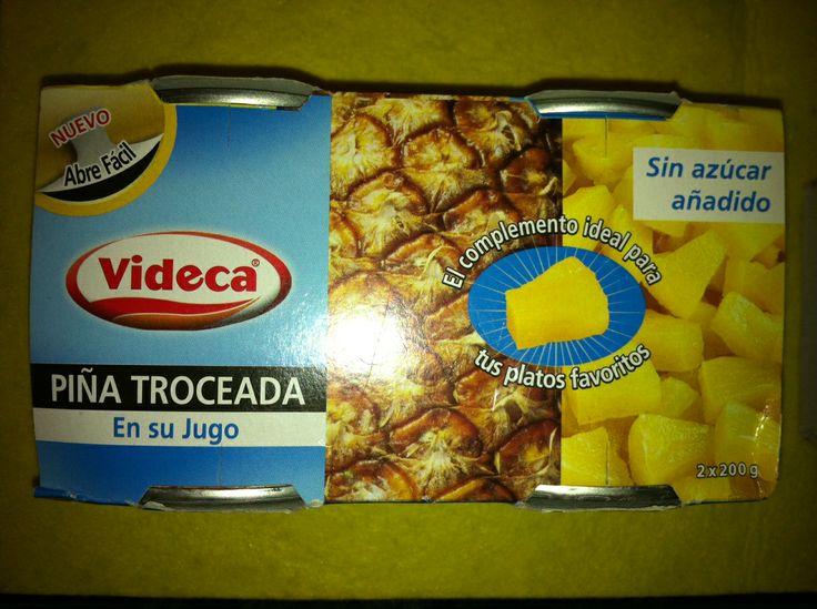 Piña troceada en su jugo sin azúcar de Videca (Mercadona) - 1 lata escurrida 1,5 puntos y 1 lata sin escurrir 2,5 puntos.