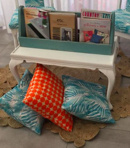 My big order for the blue frond print material just arrived! Cushions, chairs...