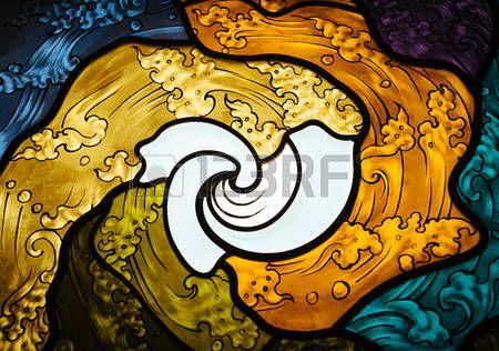 vitral: vitral con el arte tailandés del Modelo de onda Foto de archivo