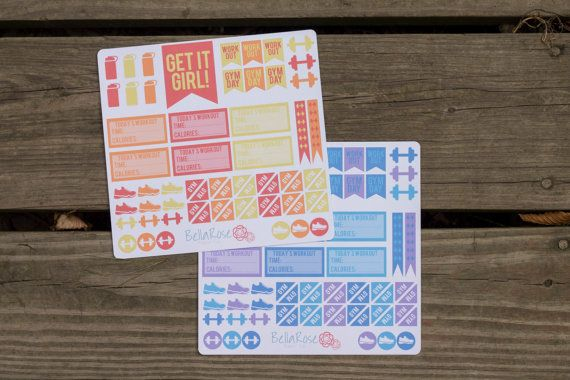 Workout Planner Sticker Sampler Gym Day by BellaRosePaperCo