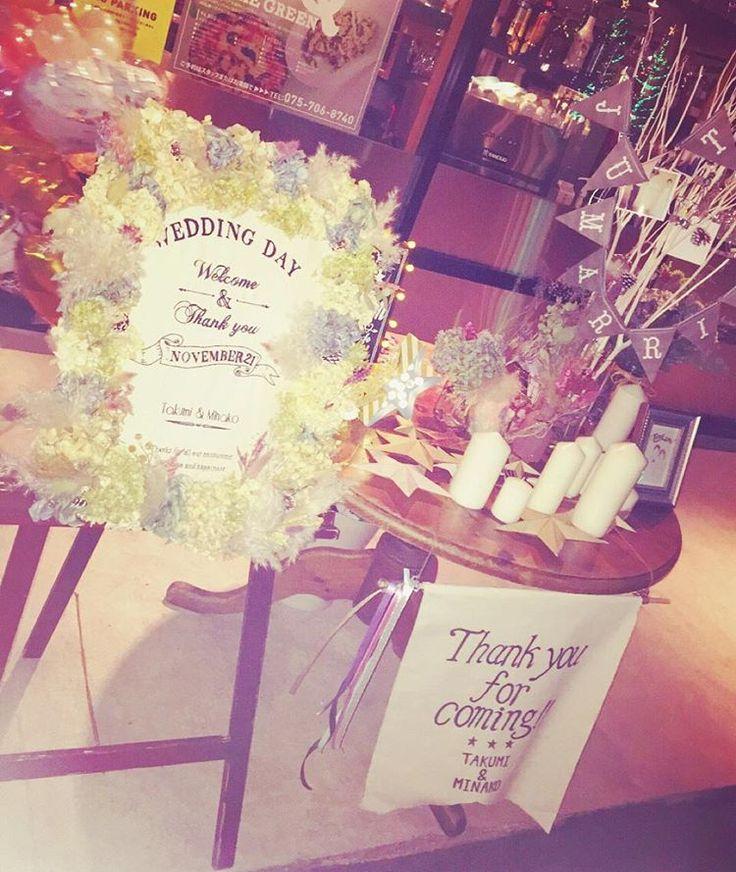 「★ そしてこっちは二次会会場入口 ・ 高砂に引き続き、こちらも飾り付け してくれてた ・ せっかく作ったから二次会にも 連れてきてくれて嬉しかった ・ #卒花嫁 #卒花 #結婚式二次会 #ウェディング #wedding #ウェルカムボード #ウェルカムツリー #ウェディングDIY #ハンドメイド」