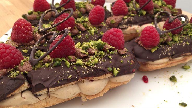 Eclairs med mokkacreme, chokolade og hindbær 'Den store bagedyst' 2016