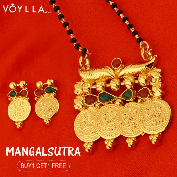 Single String Mangalsutra With the Images of Goddess Lakshmi and Encrustations of Red-Green Stones PRODUCT CODE:	326182 #Indian #beauty #festival #always #art #lookbook #seenit